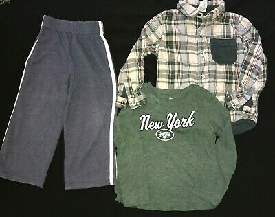 3 pc BOYS LOT size 3T OSHKOSH REVERSIBLE FLANNEL SHIRT PANTS NEW YORK JETS TEE