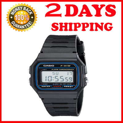 Casio Classic F91W-1 Wrist Watch For Men Silver Digital F-91 Sport Watch WR 30M