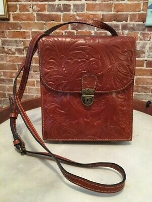 Patricia Nash Brown Tooled Leather Rossano Tuscan Organizer Crossbody New
