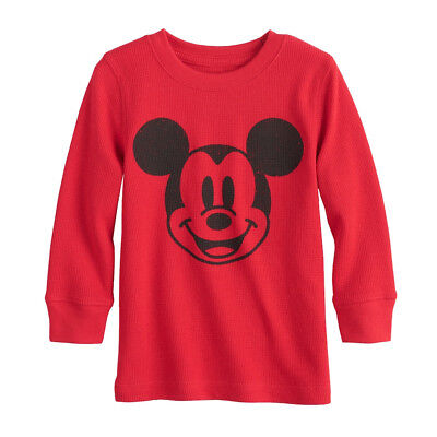 """Disney Mickey Mouse Thermal Tee Shirt Top for Boys 2T 3T 4T 5T Red """"Mickey Face"""""""