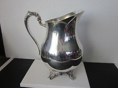 Vtg Wm Rogers Silver Company Silverplate Ice Lip Pitcher 4 Ornate Pedestal Feet