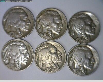 1930,1934,1935,1936,1937 P & D 5c Buffalo Nickels ( 17s286 )