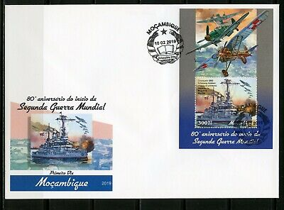 MOZAMBIQUE 2019 80th ANNIVERSARY OF THE START OF WW II   SOUVENIR SHEET FDC