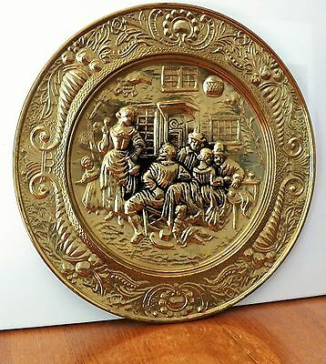 Outstanding Decorative Metal Wall Hanging Plate Made In England Old Tavern Scene