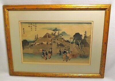 Antique Japanese Woodblock by Utagawa Hiroshige I (1797-1858) Framed Real Beauty