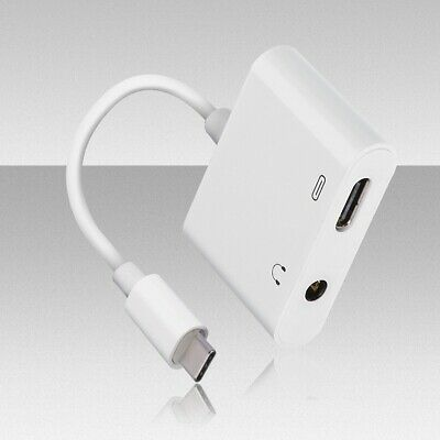 USB C 2 in 1 3.5mm Sync Data Charge Cable Type-C Jack Adapter AUX Headphone