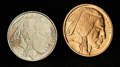 LOT of 2 - 1/2 oz BUFFALO INDIAN HEAD SILVER coin and Copper Buffalo Indian Head