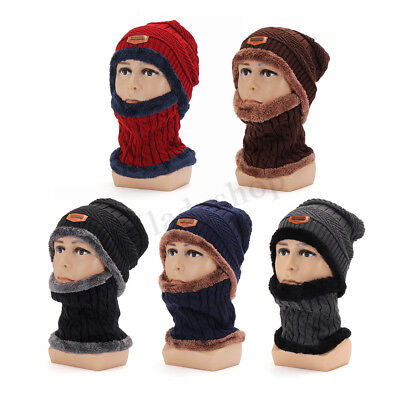 Unisex Women Mens Winter Warm Knitted Wool Hat Balaclavas Beanie Scarf Bib Snood