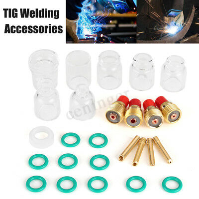 26pcs TIG Welding Torch Stubby Gas Lens Pyrex Glass Cup Ring Kit For WP-9/20/25
