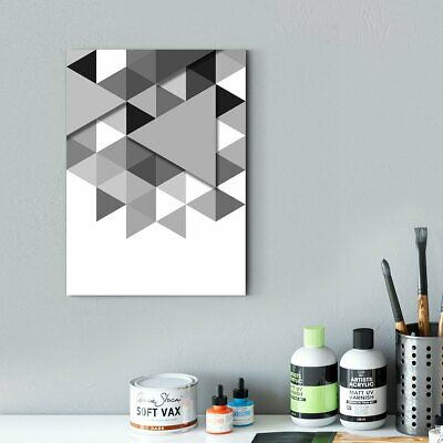 Framed Canvas Wall Art Modern black and white - abstract decorative painting - l