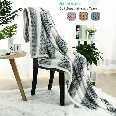 Soft Warm Micro Plush Fleece Blanket Sofa Couch Home Bed Single Double Queen