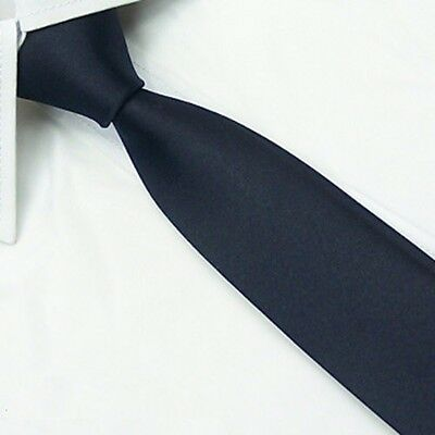 Handmade Men's Wedding Tie 100% Silk Narrow Slim Necktie Solid Navy Blue SK18
