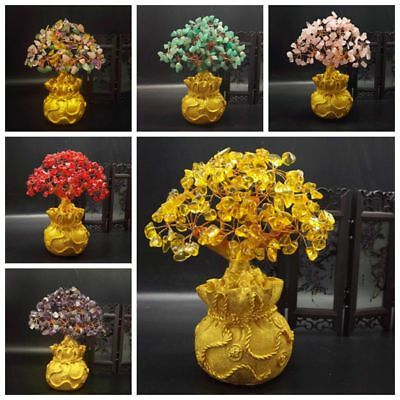 Money Wealth Bag Feng Shui Lucky Rich Tree Natural Pretty Crystal Gem Tree