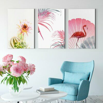 Framed Canvas Print Flamingo flowers - abstract decorative painting - living roo