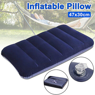 LARGE 47x30CM Inflatable Flocked Pillow Camping Sleeping Soft Travel Blow Up