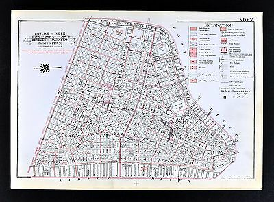 1955 Bromley New York City Map Downtown & Midtown Index Times Square City Hall