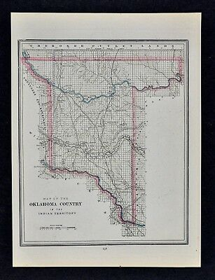 c 1889 Cram Map Oklahoma Country in Indian Territory Cattle Drive Trails Guthrie