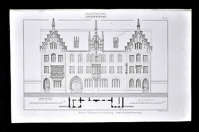 1859 Antique Print German Gothic Architecture Nuremberg House Germany by Didot