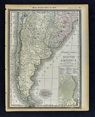 1891 McNally Map - Argentina Buenos Aires Plan Chile Patagonia Uruguay Tucuman
