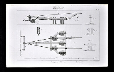 1859 Antique Print Agriculture Farm Implement Horse Drawn Expirator Rooter Plow
