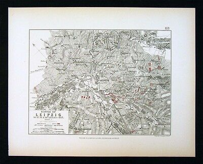 1855 Johnston Military 2 Maps - Napoleon Battle of Leipzig 1813 - Saxony Germany