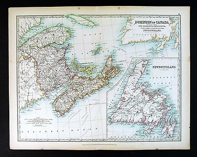 1844 BEAUTIFUL HUGE Color MAP North America Canada Nova Scotia ...
