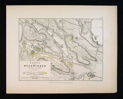 1855 Alison Military Map - Battle of Neerwinden 1793 - Leau Belgium - Napoleon