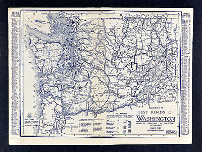 1925 Clason Auto Touring Road Map Washington Utah Seattle Salt Lake City WA UT