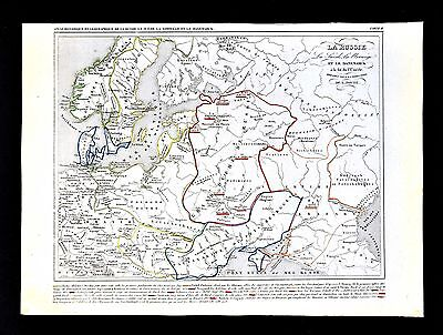 1849 Houze Map - 9th c. Grand Duchy of Russia - Sweden Norway Denmark  Europe