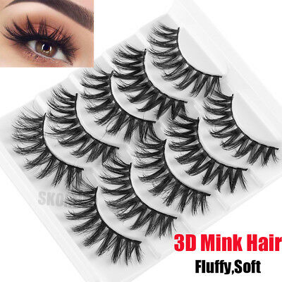 SKONHED 5 Pairs 3D Mink Hair False Eyelashes Fluffy Long Thick Cross Lashes