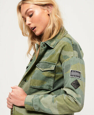 New Womens Superdry Utility Crop Jacket Washed Camo