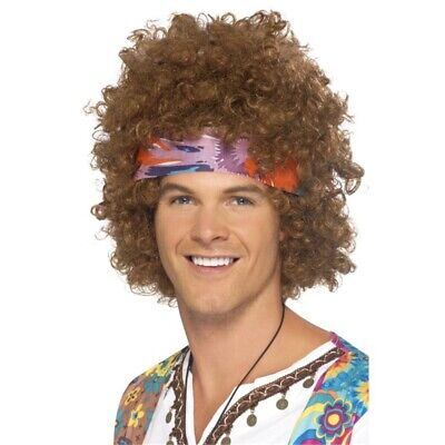 Hippy Afro - Fancy Dress Mens Wig Accessory Smiffys Costume Hippie 60s 1960s
