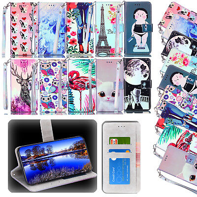 Leather Flip Wallet Case Cover For Samsung Galaxy S5 S6 S7 S8 S9 iPhone X 8 7 6S