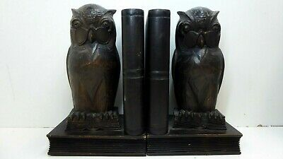 Antique Wooden Carved Owl Bookends Ebonised Timber Deco Arts Craft Myer Emporium
