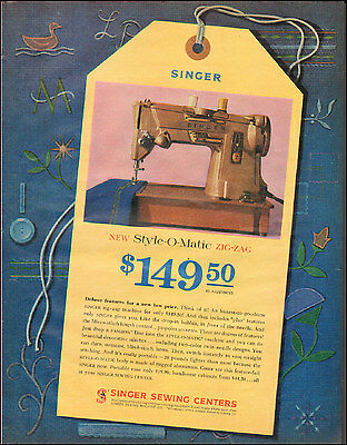 1961 Vintage ad for Singer Sewing Machine`Photo Style-O-Matic (091215)