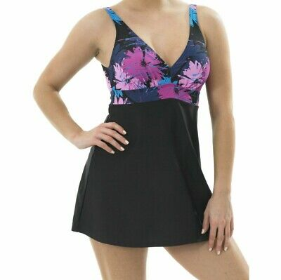 Floral Swimdress Swimsuit Oyster Bay 12 14 16 Black Padded Skirted Swim Costume