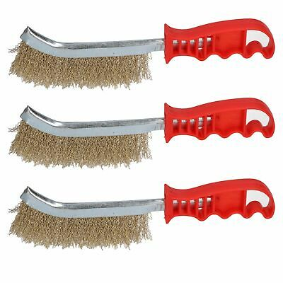 Handheld Wire Brush Rust Removal Remover Cleaning Hand Spid Brushes 3 Pack
