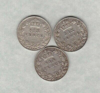 1908/1909 & 1910 Edward Vii Sixpences In Good Fine Or Better Condition