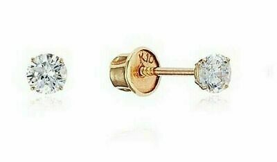 Genuine Round Prong Diamond Stud Screw Back Earrings - Solid 10k Yellow gold