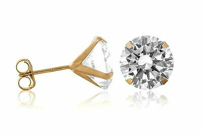 10K Yellow Gold 5.00mm Round Martini Rope Solitaire Stud Earring