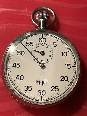 Vintage Heuer Gents Stopwatch Rare Collectable Excellent Condition 51Mm Diameter