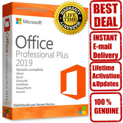 Microsoft Office 2019 Professional Plus - Official Download & Key- 32/64 Bits