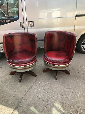 Chesterfield Oxblood Red Leather Whiskey Barrel Chairs Very Rare Very Unique