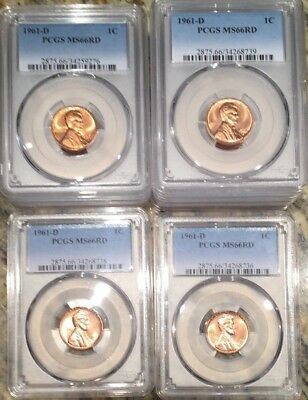 1961 D Denver Lincoln Memorial Cent PCGS Graded MS66 RD Low Pop! Price per Coin!