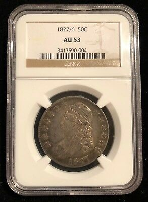 1827/6 Capped Bust Half Dollar 50 Cents NGC AU 53 Rare 7 Over 6 Overdate Variety
