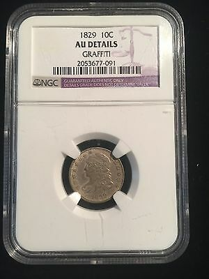 1829 Capped Bust Dime Rarest Variety 2 Modified Design Large 10 C Silver NGC AU