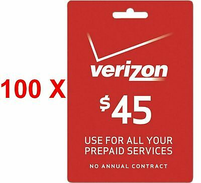 100x NOT ACTIVATED Verizon Wireless Prepaid $45 Refill Prepaid READ LISTING