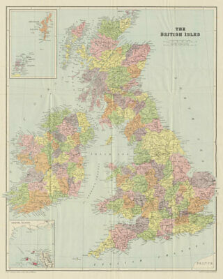 The British Isles. Counties. 63x51cm. STANFORD c1880 old antique map chart