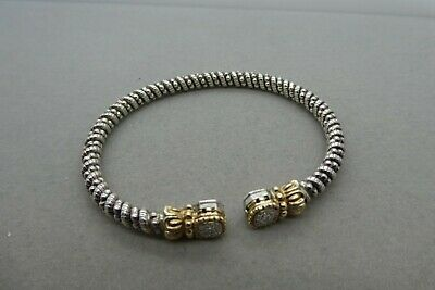 37d6e42385026f Estate A. Vahan Sterling Silver and 14K Yellow Gold Bead Bar Bangle Bracelet