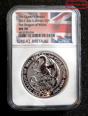 2017 G. Britain Queens Beast Dragon Of Wales 2 Oz. Silver Flag Label - Ngc Ms 70